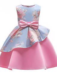 cheap -Kids Girls' Party / Going out Floral Bow / Print Sleeveless Dress / Cotton