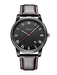 cheap -Men's Fashion Watch Japanese Casual Watch Genuine Leather Band Casual Black