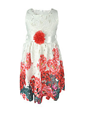 cheap -Girl's Daily School Solid Floral Jacquard Dress, Cotton Acrylic Polyester Spring Summer Sleeveless Vintage Cute White