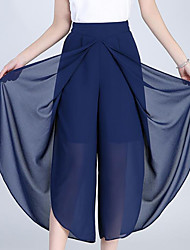 cheap -Women's Street chic Plus Size Loose Wide Leg Pants - Solid Colored Patchwork