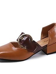 Недорогие -Жен. Обувь Полиуретан Весна Удобная обувь Обувь на каблуках Блочная пятка Квадратный носок Черный / Бежевый / Верблюжий