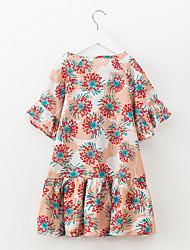 abordables -Robe Fille de Quotidien Vacances Fleur Coton Polyester Printemps Eté Manches Courtes Mignon Actif Orange Violet