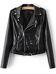 cheap -Women's Leather Jacket - Solid Peter Pan Collar
