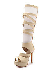 Mulheres Sapatos Couro Ecológico Primavera Verão Plataforma Básica Sandálias Salto Agulha Dedo Aberto para Escritório e Carreira Festas &