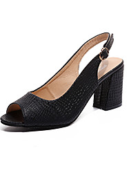 cheap -Women's Shoes PU Summer Comfort Heels Stiletto Heel Pointed Toe Rivet for Dress White Black