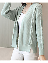 cheap -Women's Party Work Active Long Sleeves Cotton Long Cardigan - Solid Color