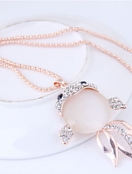 cheap -Women's Fish Rhinestone Pendant Necklace  -  Fashion Sweet European Gold Necklace For Party