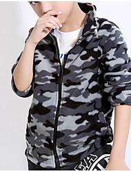 cheap -Boys' Daily Geometric Jacket & Coat, Polyester Spring Long Sleeves Vintage Black Dark Gray