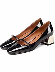 preiswerte -Damen Schuhe Leder Frühling Herbst Pumps Komfort High Heels Blockabsatz für Normal Schwarz Gelb