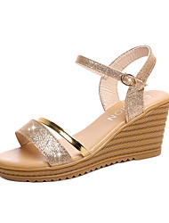 cheap -Women's Shoes PU Summer Sandals Wedge Heel Hook & Loop for Casual Silver Golden