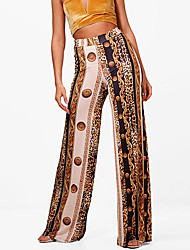 cheap -Women's Wide Leg Pants - Leopard Print High Rise