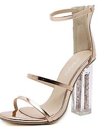 preiswerte -Damen Schuhe PU Frühling Sommer Pumps Komfort Sandalen Blockabsatz für Gold