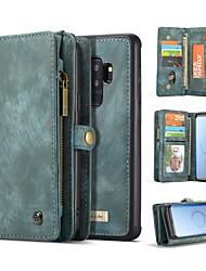 preiswerte -Hülle Für Samsung Galaxy S9 S9 Plus Kreditkartenfächer Geldbeutel Stoßresistent Flipbare Hülle Ganzkörper-Gehäuse Volltonfarbe Hart