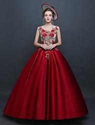 abordables -Princesse Renaissance Rococo Costume Femme Robes Bal Masqué Costume de Soirée Rouge Vintage Cosplay Polyester Sans Manches Longueur Sol