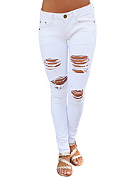cheap -Women's Jeans Pants - Solid, Hole High Rise