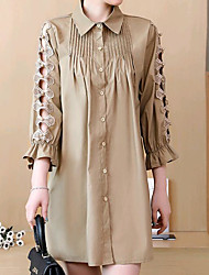 cheap -Women's Casual / Basic Cotton Shirt Dress - Solid Color Shirt Collar / Spring