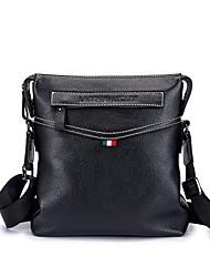 cheap -Unisex Bags Cowhide Shoulder Bag Zipper Black