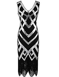 abordables -Gatsby le magnifique Gatsby Années 20 Costume Femme Bandeau Garçonne noir + argent Or + Noir Vintage Cosplay Polyester Sans Manches