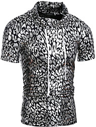 cheap -Men's Slim T-shirt - Leopard Print Turtleneck