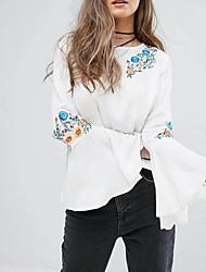 Недорогие -Жен. Вышивка Блуза Классический Однотонный