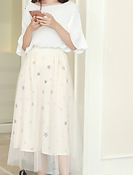 cheap -Women's Going out Cute Plus Size Cotton A Line Skirts - Solid Colored Lace High Waist