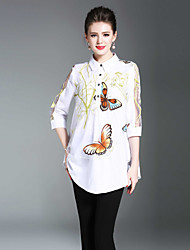 cheap -Seduction Gold House Women's Holiday Street chic Shirt - Solid Colored Animal, Print Shirt Collar