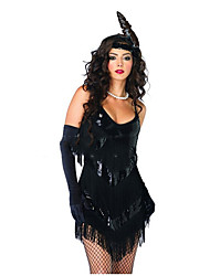 cheap -The Great Gatsby 1920s Costume Women's Dress / Party Costume / Flapper Dress Black Vintage Cosplay Polyster Sleeveless Lolita Short / Mini Halloween Costumes / Sequins / Tassel