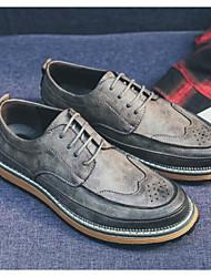 Homens sapatos Pele Inverno Outono Conforto Oxfords para Casual Preto Cinzento Castanho Escuro