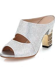 preiswerte -Damen Schuhe Kunstleder Frühling Sommer Komfort Sandalen Blockabsatz Peep Toe für Normal Draussen Gold Schwarz Silber Rot