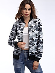 cheap -Women's Street chic Jacket-Reactive Print Camouflage,Print