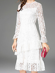 cheap -Women's Going out Sophisticated Flare Sleeve Slim A Line / Skater Dress - Solid Colored Lace High Waist