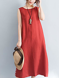 cheap -Women's Holiday Basic Cotton Loose Loose Dress - Solid Colored