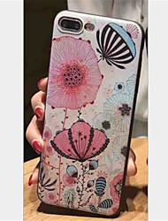 baratos -Capinha Para Apple iPhone X iPhone 7 Plus Estampada Com Relevo Capa traseira Flor Macia TPU para iPhone X iPhone 8 Plus iPhone 8 iPhone 7