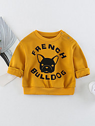 cheap -Baby Unisex Daily Print Blouse, Cotton Spandex Spring Simple Active 3/4 Length Sleeves Long Sleeves Navy Blue Yellow