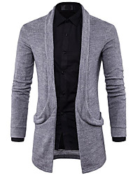 cheap -Men's Daily Simple Print Solid Color Shirt Collar Sweater Cardigan, Long Sleeves Spring