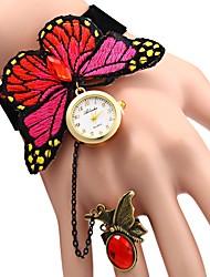 baratos -JUBAOLI Mulheres Relógio Casual Chinês Relógio Casual / Punk Tecido Banda Flor Vermelho