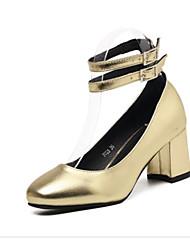 女性用 靴 PUレザー 春 秋 ベーシックサンダル コンフォートシューズ ヒール チャンキーヒール のために カジュアル ゴールド