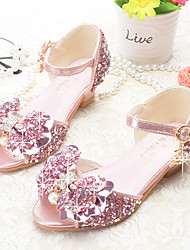 cheap -Girls' Shoes Sparkling Glitter Summer Novelty / Flower Girl Shoes Sandals Bowknot / Sequin / Buckle for Gold / Silver / Pink