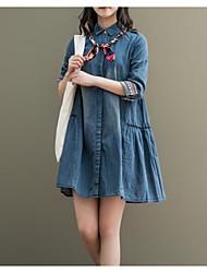 abordables -Femme Toile de jean Robe - Ruché, Couleur unie Col de Chemise