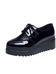 女性用 靴 PUレザー 春 夏 コンフォートシューズ オックスフォードシューズ ウエッジヒール ラウンドトウ のために カジュアル ブラック グレー