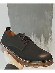男性用 靴 ピッグスキン 冬 秋 コンフォートシューズ オックスフォードシューズ のために カジュアル ブラック グレー カーキ色