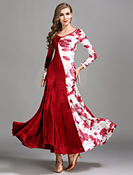 abordables -Danse de Salon Robes Femme Entraînement Utilisation Velours Motif / Impression Manches Longues Taille haute Robe