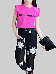 cheap -Girls' Daily Floral Clothing Set, Rayon Polyester Summer Sleeveless Active White Fuchsia