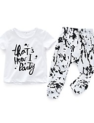 cheap -Baby Girls' Boys' Daily Print Clothing Set, Cotton Spring Summer Simple Casual Short Sleeves White
