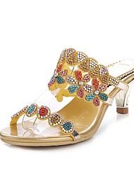 Недорогие -Жен. Обувь Полиуретан Весна Лето Модная обувь Сандалии На шпильке Открытый мыс Стразы Кристаллы Лак Пряжки для Для вечеринки / ужина