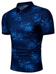 cheap -Men's Active Plus Size Slim Polo - Trees / Leaves Print Shirt Collar / Short Sleeve