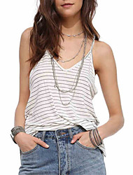 cheap -Women's Active Cotton Tank Top - Striped, Backless Deep V