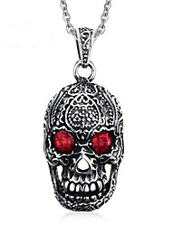 cheap -Men's Pendant Necklace - Stainless Skull Vintage, Punk Silver Necklace One-piece Suit For Party / Evening, Daily