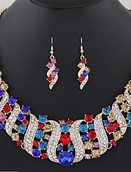 cheap -Women's Rhinestone Crystal Jewelry Set 1 Necklace Earrings - Elegant Fashion Geometric Waves Black Rainbow Red Blue Champagne Drop
