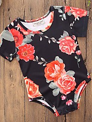 cheap -Baby Girls' Party Daily Floral One-Pieces, Cotton Polyester Summer Simple Casual Short Sleeve Black